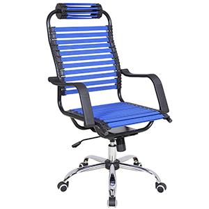 Silla para escritorio de tiras azules con altura ajustable de 61x71x113cm