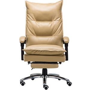 Silla para escritorio de polipiel beige con altura ajustable de 76x37x66cm