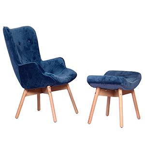 Sillón con descansabrazos de terciopelo azul con descansa pies de 77x69x95/43x65x48cm