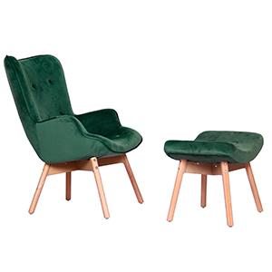 Sillón con descansabrazos de terciopelo verde con descansa pies de 77x69x95/43x65x48cm
