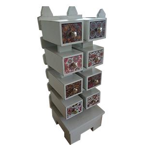 Buro de madera diseño cerca blanca de 8 cajones con estampado en colores de 30x30x83cm