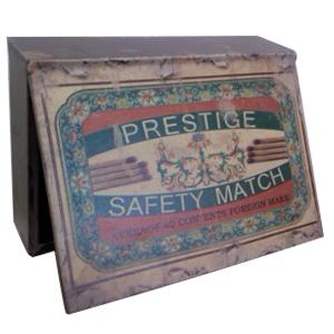 Caja de madera estilo vintage con estampado de flores de 19.5x6.5x27cm