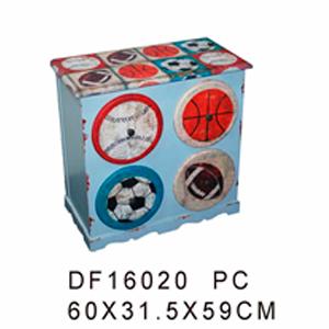 Cajonera de madera azul c/4 cajones redondos estampado balones de 60x31.5x59cm
