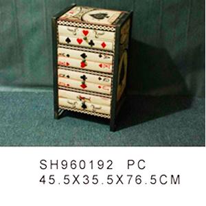 Cajonera de madera c/4 cajones estampado de cartas de 45.5x35.5x76.5cm
