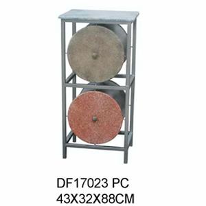 Cómoda de metal moderna con 2 cajones diseño cilindros de 43x32x88cm