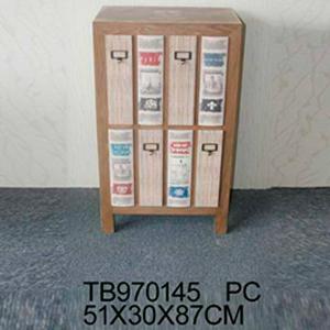 Cómoda de madera diseño libros 51x30x87cm