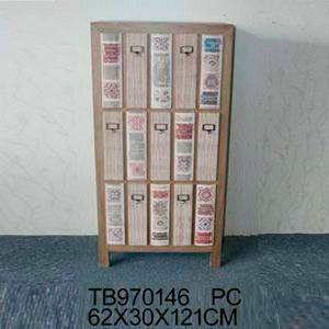 Cómoda de madera diseño libros 62x30x121cm