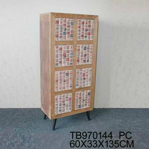 Cómoda de madera de colores de 60x33x135cm