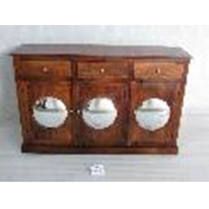 Cómoda de madera café con 3 puertas y 3 cajones con espejos de 140x38x90cm