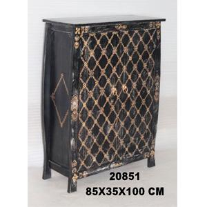 Cómoda de madera de 2 puertas diseño rombos de 90x40x180cm