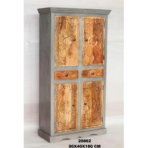 Armario de madera con 4 puertas y 2 cajones de 90x40x180cm