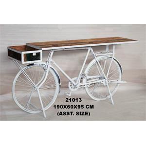 Mesa rectangular de madera con base de metal diseño bicicleta blanca de 190x60x95cm