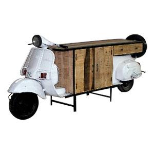 Cómoda de madera con base diseño Motoneta blanca de 255x65x105cm