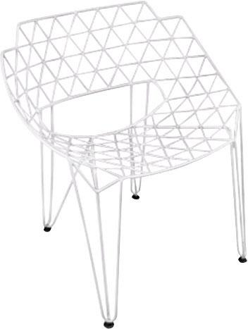 Silla de metal diseño triángulos blancos de 65x75x80cm