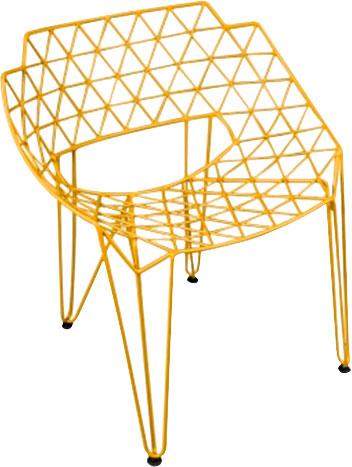 Silla de metal diseño triángulos amarillos de 65x75x80cm