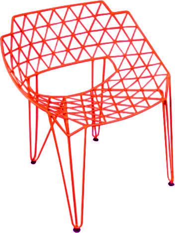 Silla de metal diseño triángulos rojos de 65x75x80cm