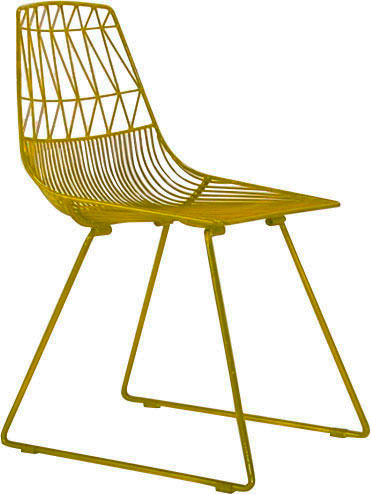 Silla de metal en color amarillo de 51x67x40cm