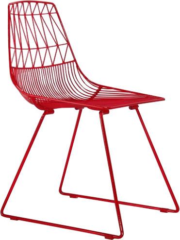 Silla de metal en color rojo de 51x67x40cm