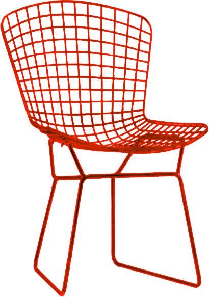 Silla de metal diseño cuadros rojos de 65x75x80cm