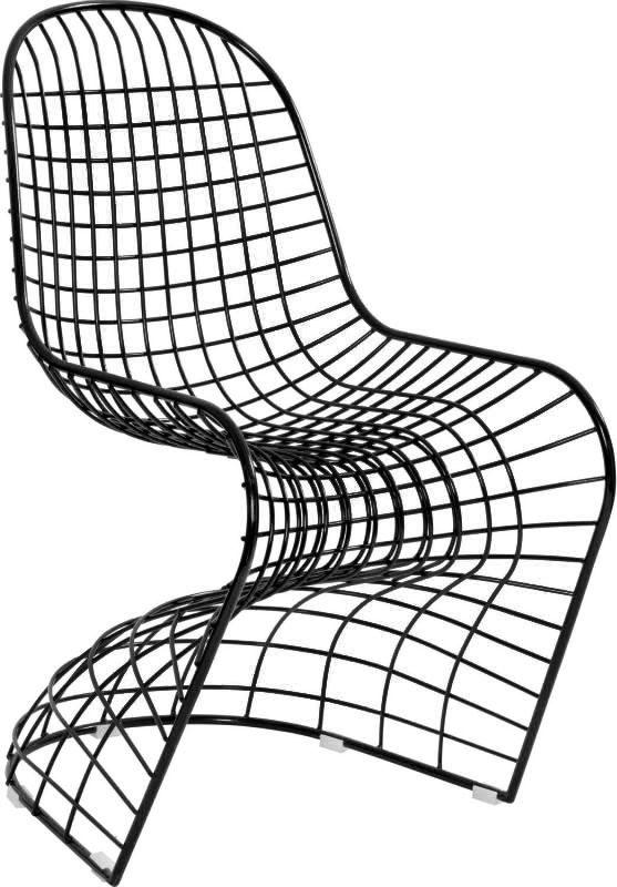 Silla de metal negro en forma de S de 75x59x90cm