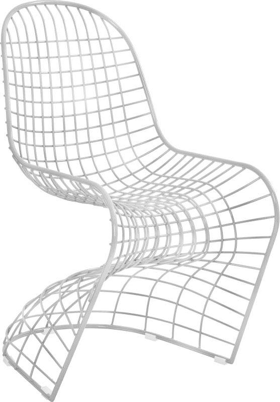 Silla de metal blanco en forma de S de 75x59x90cm