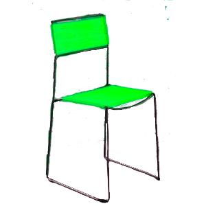 Silla de metal tejida de fibras plásticas verde 58x46x94cm