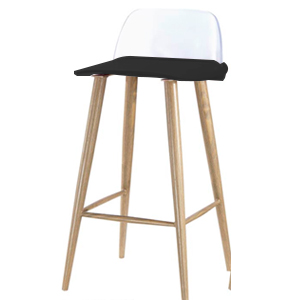 Silla para bar de plástico asiento negro, respaldo transparente patas de metal de 41x41.5x67x82.5cm