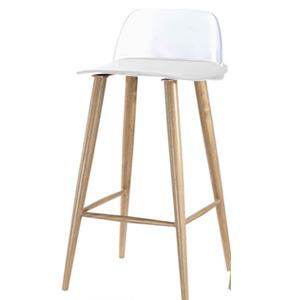 Silla para bar de plástico c/asiento blanco, respaldo transparente de  41x41.5x67x82.5cm