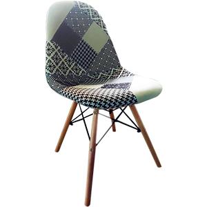 Silla de tela diseño parches en tonos gris c/negro y patas imitacion madera