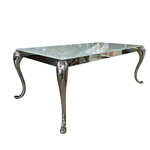 Mesa de metal cromada con cristal blanco y orilla biselada de 200x100x76cm