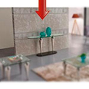 Coqueta de cristal con base de metal cromada de 160x45x86cm