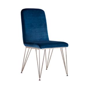 Silla de terciopelo azul con patas de alambrón cromadas de 55x46x91cm