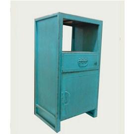 Estante de metal azul con 1 puerta y 1 cajón terminado antiguo  51.5x42.5x101.5cm
