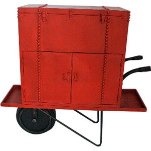 Cajonera de metal roja diseño carretilla de 100x34x96.5cm