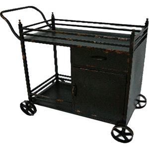 Carro de servicio de metal diseño industrial de 97.5x47.5x84cm