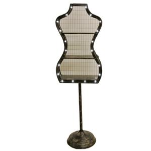Maniquí de metal con entrepaños y luces de 51x35x162.5cm