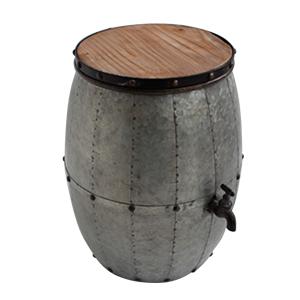 Banco de metal con madera diseño barril con llave de 28x34x42cm