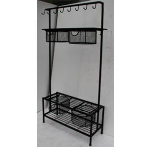 Mueble de metal recuangular con perchas y cajones de malla de 97.5x36x182.5cm
