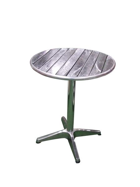 Mesa para exteriores de aluminio con cubierta de poly-madera gris 60x72cm
