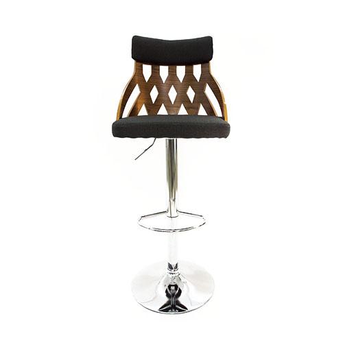 Silla de bar de madera con respaldo calado y asiento de tela negra de 44x48x117cm