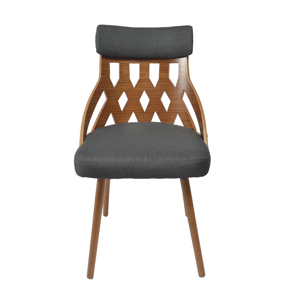 Silla de madera calada y asiento de tela negra de 44x55x82cm