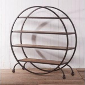 Mueble de metal diseño circular con 3 entrepaños de madera de 150x42x153