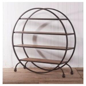 Mueble de metal diseño circular con 3 entrepaños de madera de 195x42x200