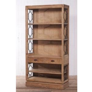 Librero de madera con 3 entrepaños y 4 cajones de 100x42x205cm