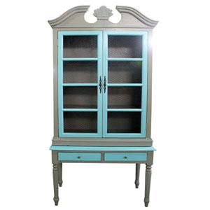 Gabinete de madera diseño vintage gris c/2 puertas y 2 cajones azul de 110x50x240cm