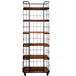Estante para libros c/ruedas diseño maya c/6 entrepaños de 80x40x220cm