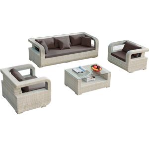 Sala de fibras plasticas blanca con cojines grises y mesa de centro con cristal 1+2+1
