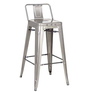 Silla de bar de aluminio galvanizado de 43.5x43.5x94cm