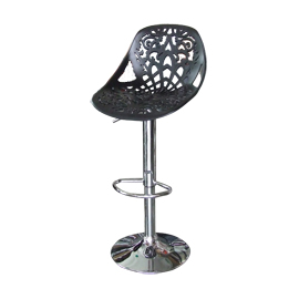 Banco para bar asiento calado negro altura ajustable de 44x49x95-107cm