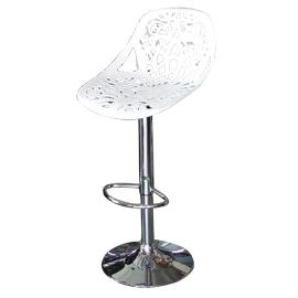 Banco para bar asiento calado blanco altura ajustable de  44x49x95-107cm